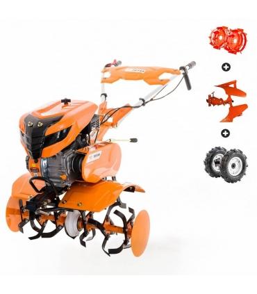 Motoculteur 7 Cv 6 fraises vitesses 2AV -1AR charrue réversible roues agraires et métalliques 400x8 Ruris 701KS