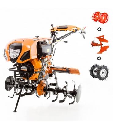 Motoculteur diesel 10 Cv 8 fraises vitesses 2AV -1AR roues agraires 500x12 charrue réversible Ruris 1001 KSD