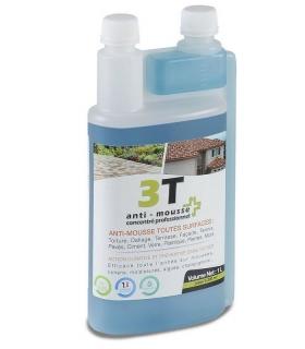 Antimousse concentré 3T 1 litre pour traiter 200 m² de toit toiture mur et sol