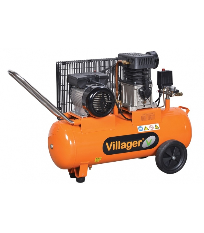 Compresseur bicylindre fonte 50 litres villager vat le 50l - Compresseur 50 litres ...
