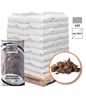Paillage végétal biodégradable en écorces de pin maritime 42 sacs 50 L pour 50m2