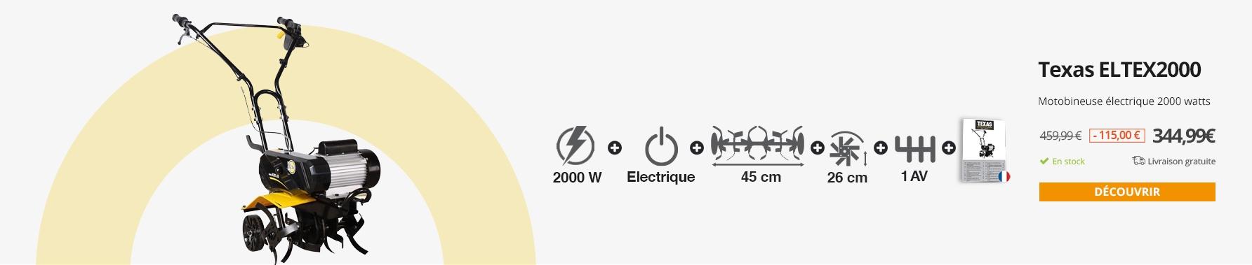 Motobineuse électrique 2000 watts largeur travail 45cm Texas ELTEX2000