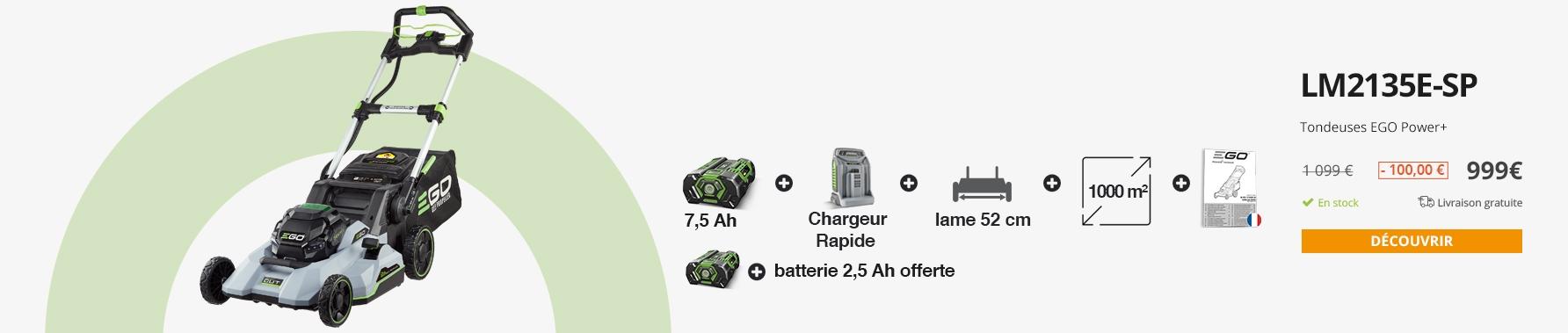 Tondeuse à gazon tractée Ego Power double lame 52 cm batterie 7,5Ah chargeur rapide inclus LM2135E-SP