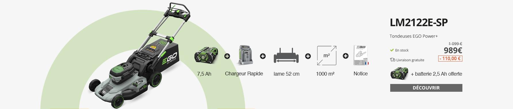 Tondeuse à gazon sans fil tractée Ego Power + coupe 52 cm batterie 7,5Ah chargeur rapide inclus LM2122E-SP
